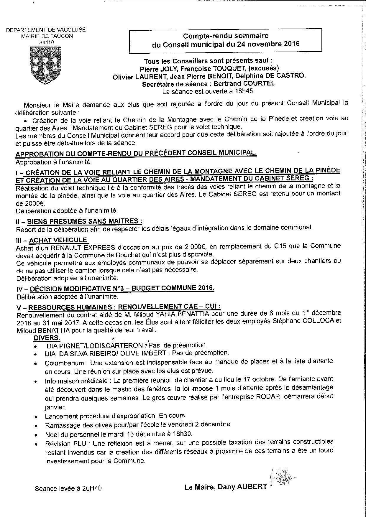 Compte-rendu sommaire du Conseil municipal du 24 novembre 2016