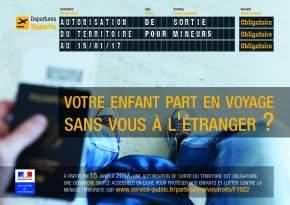 Exigence d'une autorisation de sortie du territoire pour les mineurs à compter du 15 janvier 2017