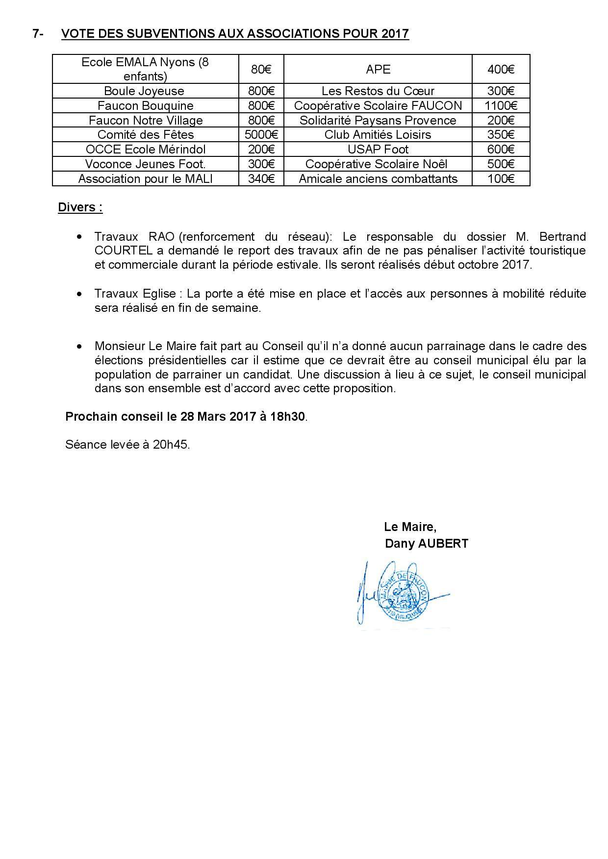 Compte-rendu sommaire du Conseil municipal du 14 mars 2017