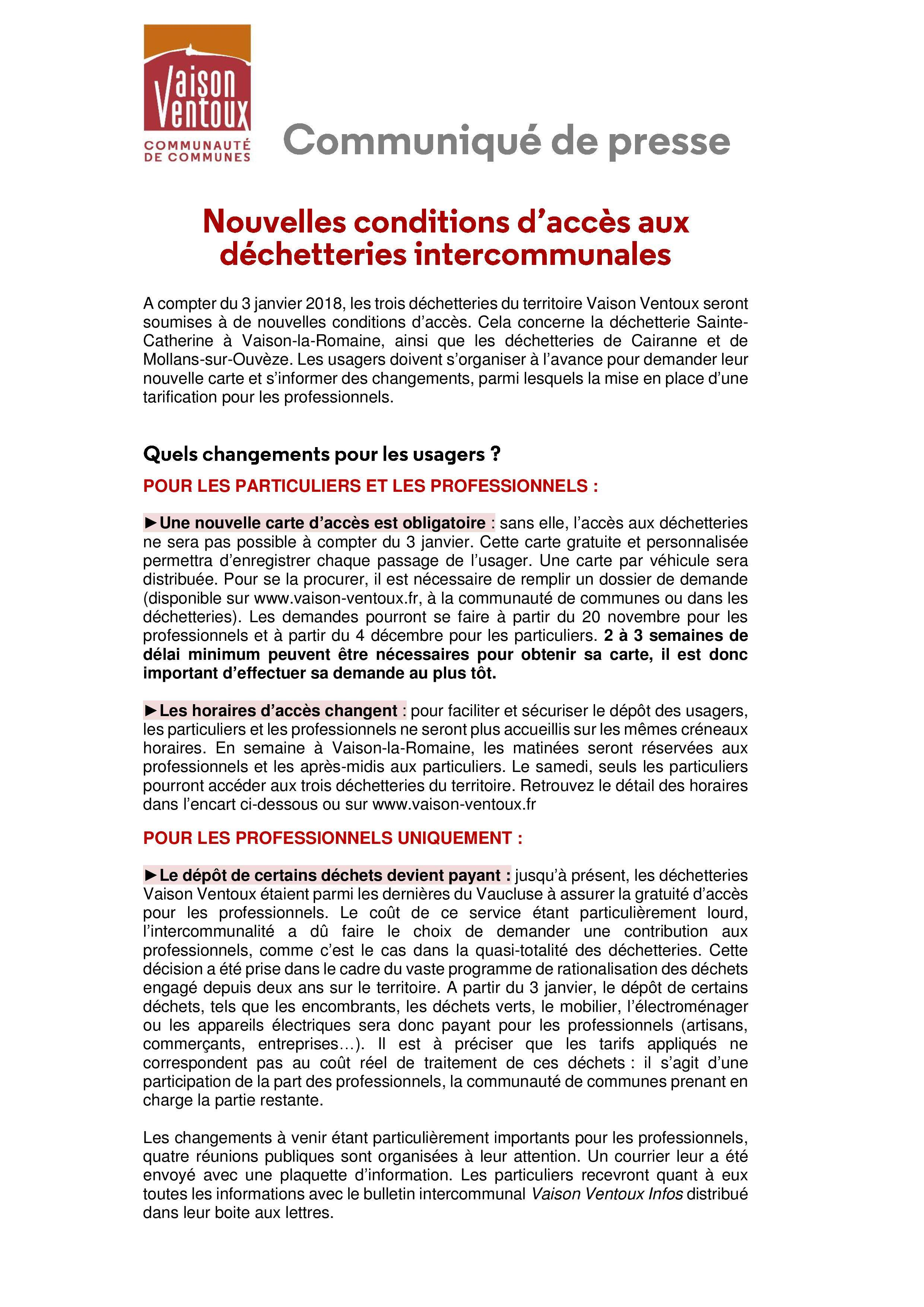Accès aux déchetteries de Faucon règlement 2018 : communiqué