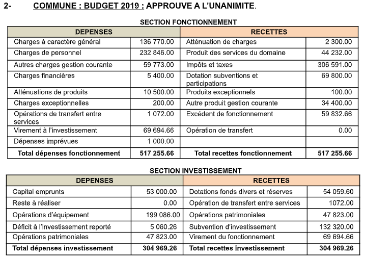Compte-rendu sommaire du Conseil municipal 26 mars 2019
