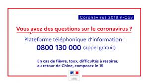 Coronavirus Covid-19 numéro vert pour les habitants de Vaucluse et Faucon Provence
