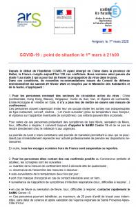 covid-19 et coronavirus point situation en vaucluse et village de faucon