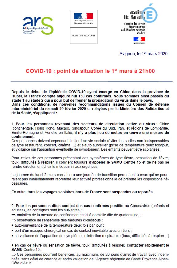 COVID-19 : Point de situation le 1er mars à 21h00