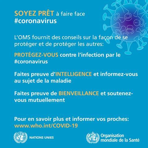 Nouveau coronavirus (COVID-19): conseils au grand public