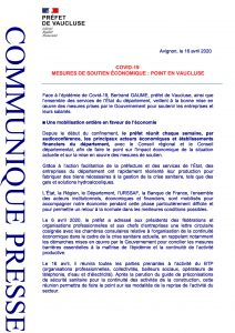 COVID-19 : Mesures de soutien économique – Point en Vaucluse page 2