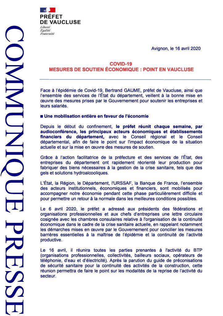 COVID-19 : Mesures de soutien économique - Point en Vaucluse