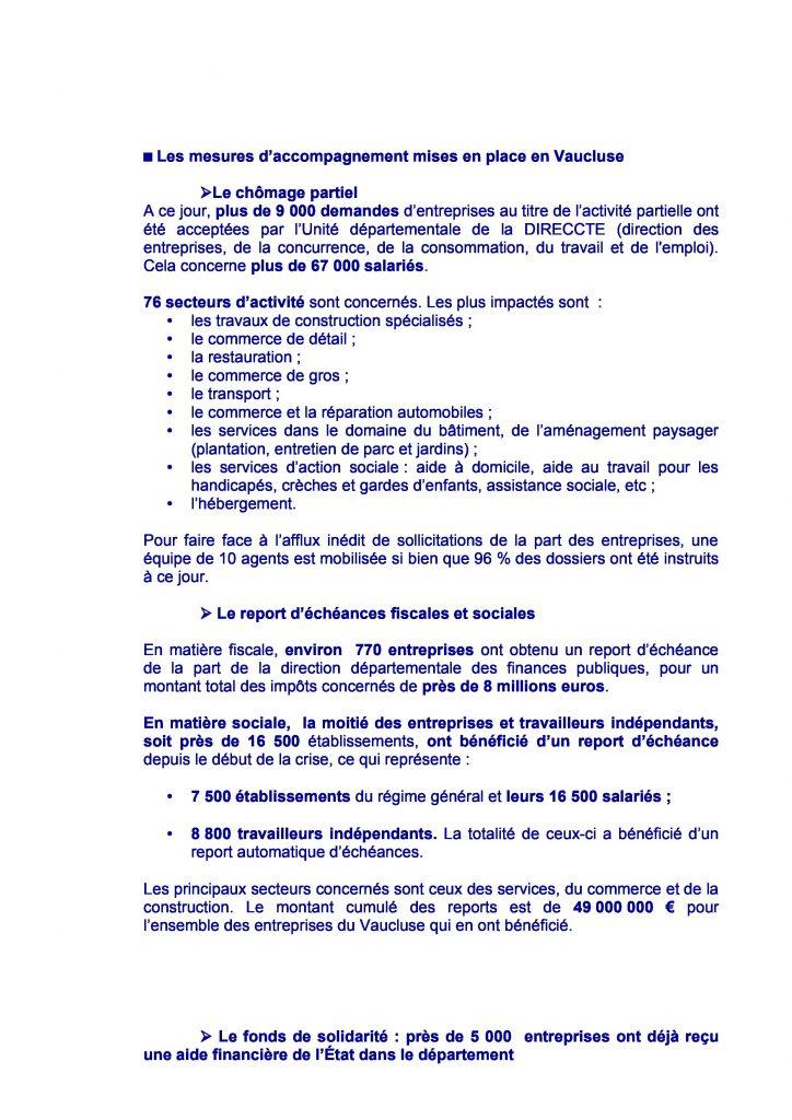 COVID-19 : Mesures de soutien économique - Point en Vaucluse 2