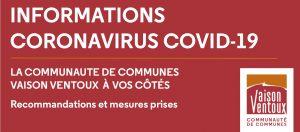 bandeau de la communaute de commune Vaison Ventoux et Faucon face au coronavirus