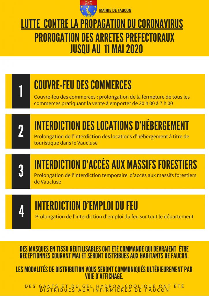 Prorogation des arrêtés préfectoraux jusqu'au 11 mai 2020