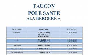 liste des professionnels du pole sante la Bergere de la commune de Faucon et Nord Vaucluse