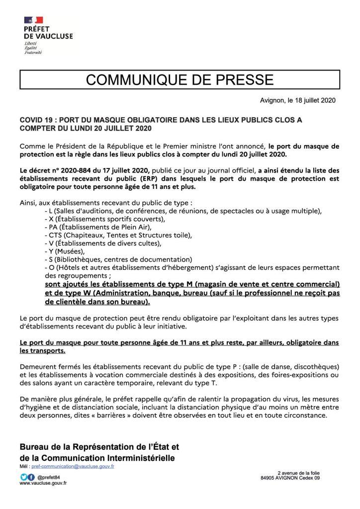 Masque obligatoire dans les lieux clos : 20 juillet 2020