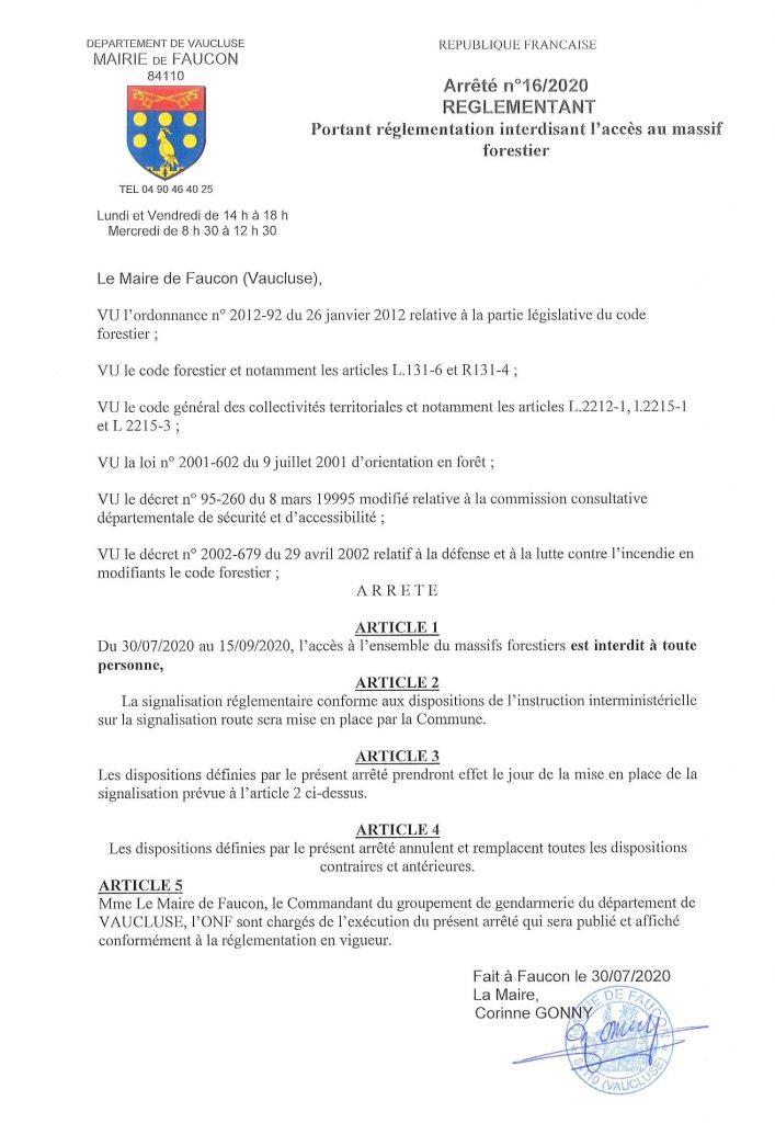 Arrêté d'interdiction d'accès aux massifs forestiers jusqu'au 15 septembre 2020