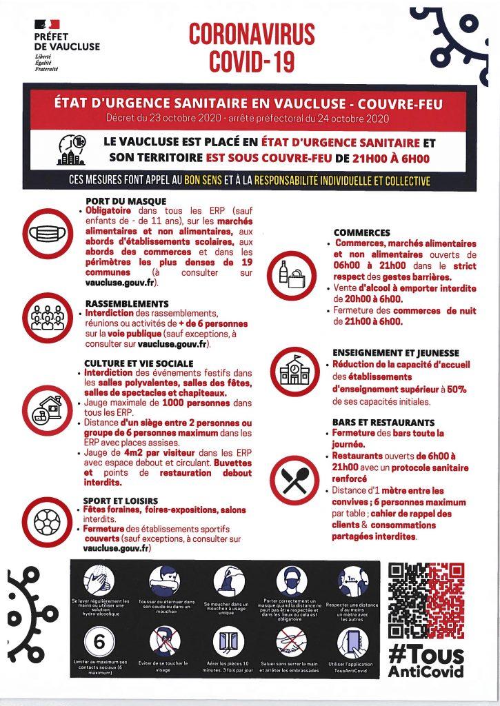 COVID-19 en Vaucluse : urgence sanitaire et couvre-feu