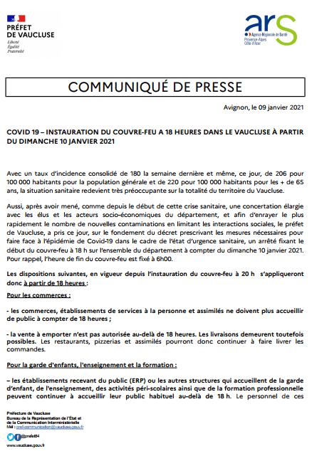instauration d'un couvre feu à 18 heures  dans le Vaucluse à partir du dimanche 10 janvier 2021