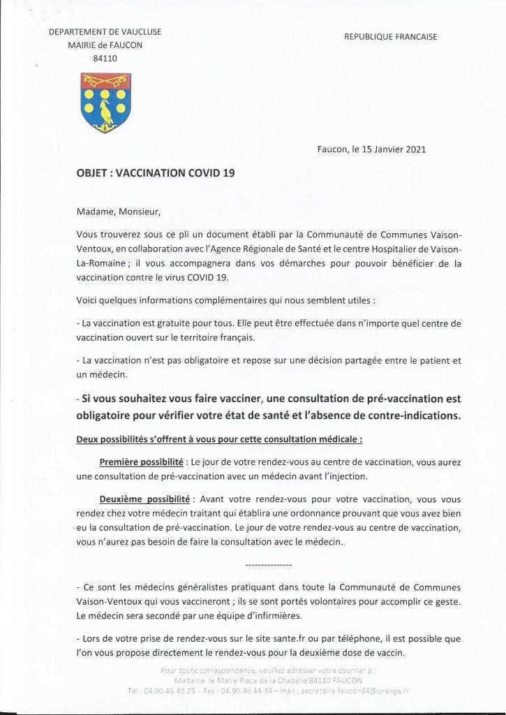 Pour les habitants de Faucon : se faire vacciner contre la Covid-19 à Vaison-la-Romaine