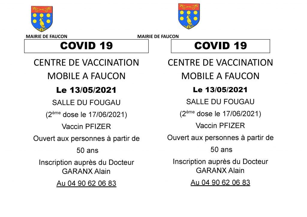 COVID 19 : Centre de vaccination mobile à Faucon