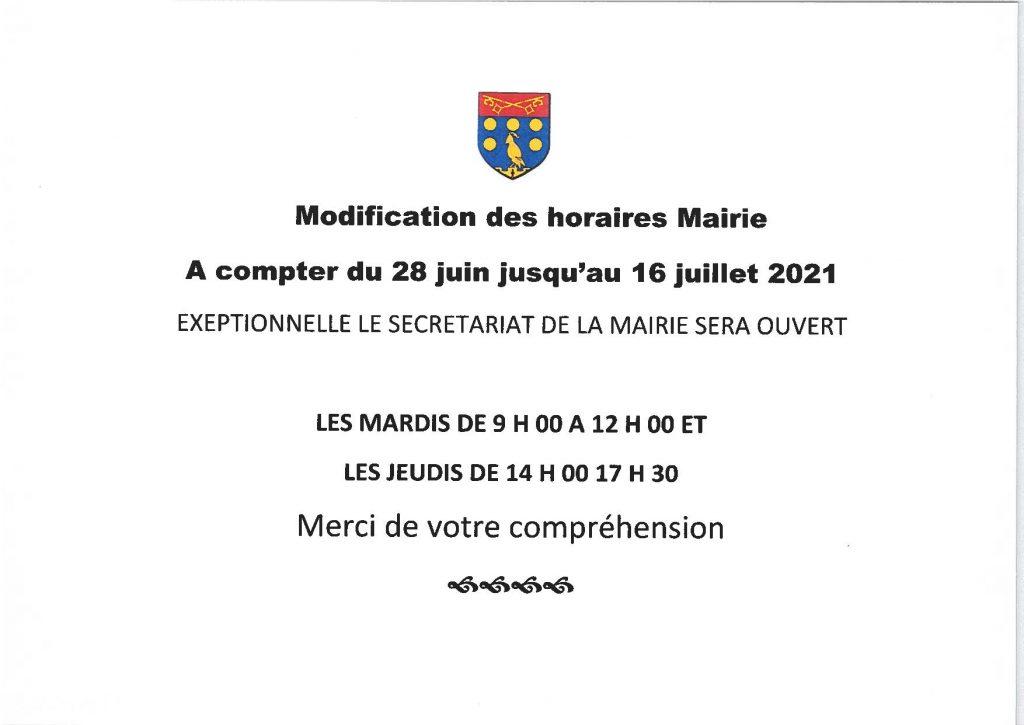 modification_horaire faucon conges 2021